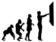 Education Evolution. Illustration of human evolution ending with a teacher stock illustration
