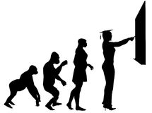 Education Evolution. Illustration of human evolution ending with a teacher Royalty Free Stock Photo