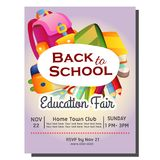 Education fair back to school poster with stationary. Additional file in eps 10 stock illustration