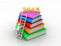 Education fair concept for year 2015. Year 2015 on top of colorful books 3d illustration Royalty Free Stock Images