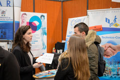 Education Fair to choose career path and vocational counseling Stock Photos