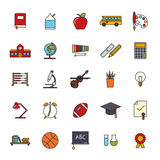 Education Filled Line Icon VectorSet. Collection of 25 education, school, college and university related filled line icons Royalty Free Stock Photo