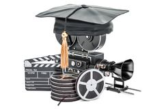 Education in film school concept, 3D. Rendering Royalty Free Stock Photo
