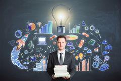Education, finance, idea and knowledge concept Royalty Free Stock Photos