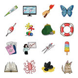 Education, fishing, antiquity and other web icon in cartoon style. cat, animal, malyusk icons in set collection. Education, fishing, antiquity and other  icon Stock Photography