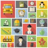 Education fla icon set. Stock Photo