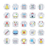 Education Flat Circular Icons 1. Set of school, education and knowledge icons Royalty Free Stock Photo