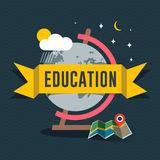 Education flat design concept for web and mobile services and apps. Stock Photos