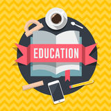 Education flat design concept for web and mobile services and apps. Stock Photography