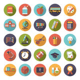 Education Flat Design Vector Icons Collection Stock Photos