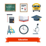Education flat icon set Royalty Free Stock Image