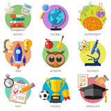 Education Flat Icon Set Stock Photo