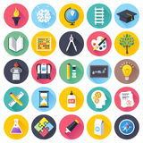 Education Flat Icon Set. Flat style vector illustrations with long shadows; education themed icons set stock illustration