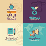 Education flat Icons, apple on books icon, medal icon, book and pencil icon, megaphone icon. / vector illustration eps-10 Stock Image