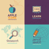 Education Flat Icons / apple icon, whiteboard icon, research icon and pencil icon. Royalty Free Stock Photos