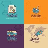 Education flat Icons, certificate icon, palette icon, school bus, rocket icon with world map icon Royalty Free Stock Photos
