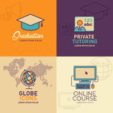 Education Flat Icons, graduation cap, teacher, globe with world map, online education icon. / vector illustration eps-10 Royalty Free Stock Photos