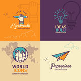 Education flat Icons, hand holding pencil icon, light bulb icon, world icon, paper plane icon. / vector illustration eps-10 stock illustration