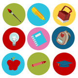 Education Flat Icons Royalty Free Stock Photos
