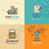 Education flat Icons, school building icon, notepad pencil icon, back pack icon. / vector illustration eps-10 Stock Photos