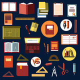 Education flat icons with school supplies. Education flat icons with books, laptop, notebooks, diary, drawing, clipboard, exercise books pencils, pens rulers Stock Photography