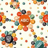 Education flat icons seamless pattern. Education seamless pattern background with school icons and chemistry symbols composition. EPS10 vector file organized in Royalty Free Stock Photography