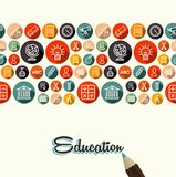 Education flat icons seamless pattern background. School elements seamless pattern background with pencil and education vintage text. EPS10 vector file organized Royalty Free Stock Image
