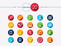Education flat icons set Royalty Free Stock Photography