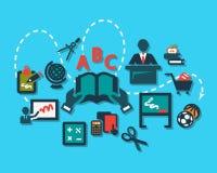 Education flat icons set stock illustration