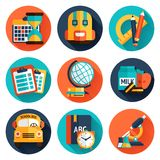 Education Flat Icons Set Royalty Free Stock Image