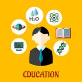 Education flat infographics template Royalty Free Stock Images