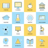 Education Flat Line Icons Royalty Free Stock Images