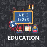 Education flat poster vector illustration
