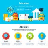 Education Flat Web Design Template Stock Photos