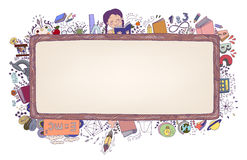 Education Frame. Birthday Seamless Pattern. Black background. Eps8 Royalty Free Stock Photo