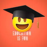 Education is fun, emoticon laughing Royalty Free Stock Image
