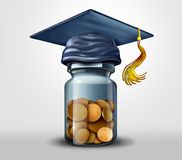 Education fund or scholarships and learning. Or school tuition debt financial planning symbol as a 3D illustration stock illustration