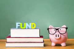Education funding theme with pink piggy bank with chalkboard in the background Stock Photo