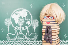 Education funny concept with women teacher, Earth on three whale Stock Images