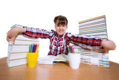 Education-funny girl with books Royalty Free Stock Photos
