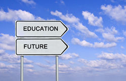 Education and future. Road sign to education and future stock photography