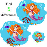 Education game find the differences. vector illustration. Stock Photos