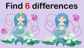 Game for children: find differences, little mermaid and sea world stock illustration