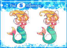 Education game for preschool kids, find the differences. Beautiful mermaid with a string of pearls. Cartoon vector illustration Royalty Free Stock Photography