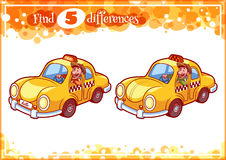 Education game for preschool kids, find the differences. Taxi driver in the car. Cartoon vector illustration Royalty Free Stock Images