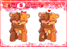 Education game for preschool kids, find the differences. Two cute enamored bears. Cartoon vector illustration Stock Photography