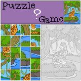 Education game: Puzzle. Cute jaguar in the forest. Royalty Free Stock Images