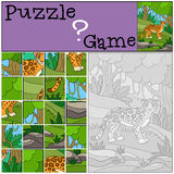 Education game: Puzzle. Cute jaguar in the forest. Stock Photography