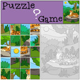 Education game: Puzzle. Cute jaguar on the stone. Royalty Free Stock Images