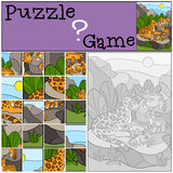 Education game: Puzzle. Mother jaguar with her little cute cubs. Royalty Free Stock Photos